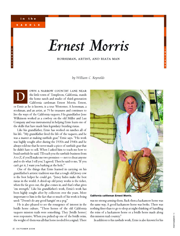 Ernest Morris In Cowboys and Indians Vaquero Articles